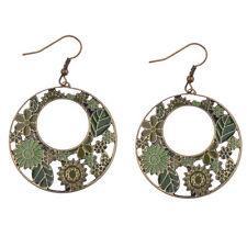 Fun New Bohemian Boho Green Flower Hollow Round Disc Bronze Dangle Drop Earrings