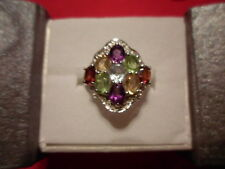 Multi-Color Gemstone Ring in 925 Sterling Silver-Size 7-3.47 Carats