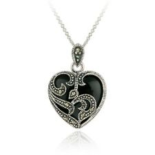 """925 Silver Marcasite & Onyx Heart Necklace, 18"""""""