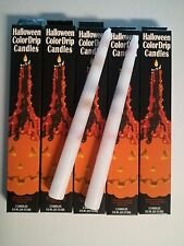 "10 BLACK & ORANGE TAPER DRIP CANDLES 3/4"" x 9 1/2"" long (5 packs of 2) Halloween"