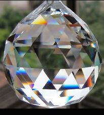 20MM Feng Shui Crystal Prism Clear Faceted Hanging Glass Ball Sun Catcher  *USA*