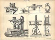 Stampa antica MACCHINE SEGATRICI PER TRONCHI e LEGNO 1890 Old antique print