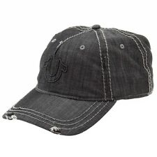 True Religion Men's Distressed Black Horseshoe Baseball Cap Hat (One Size)