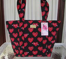 Luv Betsey Johnson Red Hearts Tote Shoulder Bag Valentine & Cosmetic 2 pc NWT