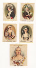 LOT OF 5 VINTAGE 1900'S TOBACCO SILKS LADY WOMEN CAMEOS ORIGINAL FINE
