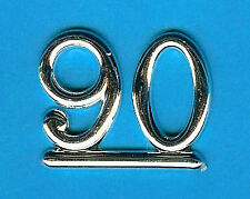 SILVER 90 NUMBERS/ NUMERALS (Pack of 6) CAKE DECORATIONS / CARD MAKING