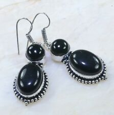 "Elegant Handmade Black Onyx 100% Pure 925 Sterling Silver Earrings 2.25"" AA582"