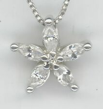 STERLING SILVER CHINA CZ CLEAR STONES FLOWER PENDANT CHAIN NECKLACE 925 9824