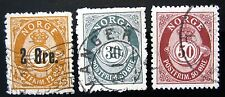 TOTALLY DISREGARD MY ASKING PRICE – 3 STAMPS FROM NORWAY 1888-1907 - USED