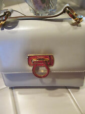 VINTAGE SALVATOR FERRAGAMO FLAP IVORY CLASSIC CROSS BODY GOLD HARDWARE BAG