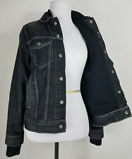 Levis Ladies Lined Insulated Black Jean Denim Motorcycle Trucker Jacket Medium