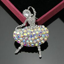 Shiny Silver Plated AB Rhinestone Ballerina Girl Wedding Prom Party Brooch Pin