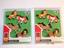 PONY CLUB/ HORSE  NOVELTY ERASER/RUBBERS X 2  packets ( 8 erasers)