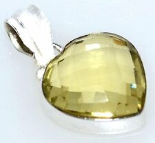Sterling SILVER Lemon Quartz Heart Pendant, Faceted Genuine Gemstone 925 Jewelry