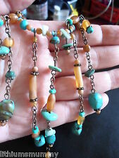 PRETTY, MODERN FAUX TURQUOISE & CARNELIAN BRONZE TONED FRINGE NECKLACE (PH3)