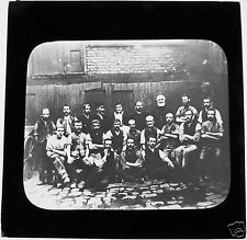 Glass Magic Lantern Slide GROUP OF VICTORIAN MANCHESTER MEN C1900