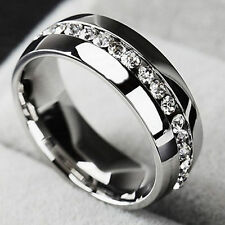 Men/Women Sz7-11 CZ Couple Stainless Steel Wedding Ring Titanium Engagement Band
