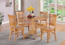 5pc Dublin Dinette table + 4 Vancouver solid wood chairs oak East West Furniture