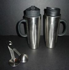 2 Starbucks Coffee Barista French Press Travel Mugs with Sip Tops and Scoops