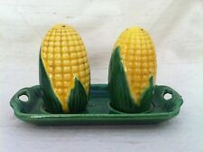 Vintage Japan Signed Corn Cob Salt & Peppers Shakers with Tray