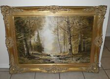 JOSEF KUGLER FOREST TREE PATH  STREAM OIL PAINTING GERMAN LISTED ARTIST 35 X 23