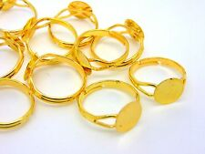 10 x Gold Plated Adjustable Ring Blanks 10mm Flat Pad Glue Jewellery J134