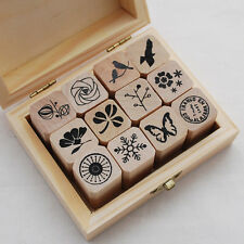 12 Wood Rubber Stamp Set Bird Flower Butterfly Motif