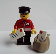 Lego  Postman Post Office Man Minifigure With Glasses Sack & Letters Town City