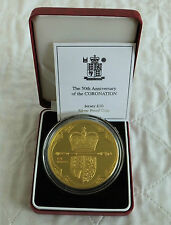 JERSEY 2003 5oz 50th ANNIV OF CORONATION £10 GOLD PLATED SILVER PROOF -boxed/coa