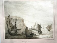 c1836 Original Painting HASTINGS BEACH Fishing Fishermen Boats Sailing Sussex