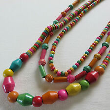 BOHEMIAN HIPPY MULTI COLOUR 3  VARIED LENGTH STRAND WOOD BEAD NECKLACE New pouch