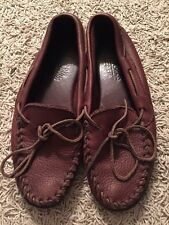 Minnetonka Dark Brown Leather Driving Moccasin Loafers
