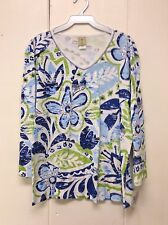 Jess and Jane Simply Floral Pattern White Blue & Green Shirt New 2X