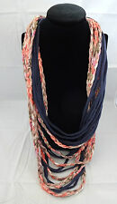 Necklace scarf tee shirt casual navy blue colored braids funky hip polyester