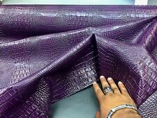 Purple Crocodile Faux Leather Vinyl Embossed Fabric Scales. Sold By The Yard.
