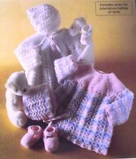 "KNITTING PATTERN - BEAUTIFUL ANGEL TOP, BONNET, SHOES PREMATURE SIZES 10"" - 18"""
