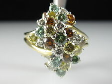 Multi Colored Diamond Cluster Ring 18K Yellow Gold Waterfall Fine Jewelry Size