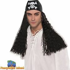 BLACK PIRATE BANDANA WITH HAIR WIG LONG CRIMPED mens fancy dress costume