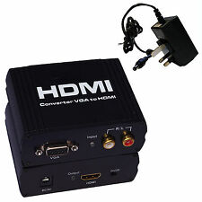 VGA to HDMI HD TV adaptor converter L+R Audio PC Laptop RCA Digital Analog Signa