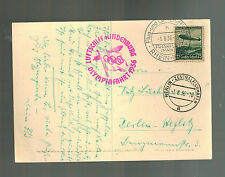 1936 Germany Hindenburg LZ 129 Zeppelin Olympics Postcard Cover Ethiopia Show