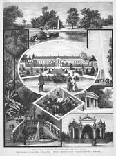 Schloss Herrenhausen, Hannover, Sammelblatt, Originalholzstich von ca. 1890