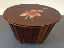 Vintage Wood Wooden Knit Craft Sewing Basket Box with Rose Inlay Details