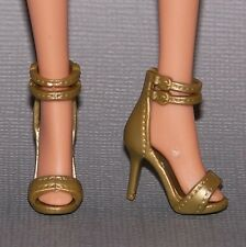 Barbie Doll Shoes Fashionista Glam Luxe Style Gold Double Ankle Strap Heels