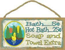 Bath 5 Cents Soap And Towel Extra Rubber Ducky Bathroom Sign Plaque 5x10""