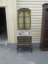 57073 MADDOX ORIENTAL HAND PAINTED SECRETARY DESK WITH BOOKCASE TOP
