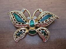 GOLD TONE & GREEN BUTTERFLY  FASHION  BROOCH
