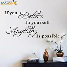 If you believe in yourself Quote Removable Vinyl Decal Art Mural Wall Stickers