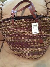 LUCKY BRAND KENYA Natural Brown Multi Leather LARGE TOTE SHOULDER BAG NWT