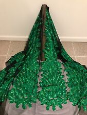 """BLACK MESH W/GREEN PEACOCK EMBROIDERY RHINESTONE SEQUINS FABRIC 50"""" WIDE 1 YD"""