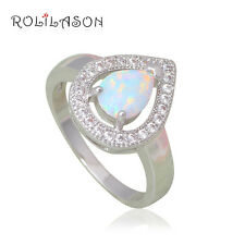 OR769#9 Water Drop Style White Fire Opal Silver Stamped Jewelry Beautiful Rings